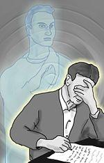 Alegoria que representa, segundo a ótica espírita, o Médium Chico Xavier, psicografando uma mensagem do Espírito de Emmanuel