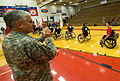 Chief of Staff of the Army Gen. George W. Casey Jr. applauds U.S. service members and veterans after the completion of their wheelchair basketball event during the Warrior Games in Colorado Springs 100513-A-VO565-011.jpg
