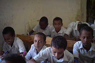 Education in Somalia - Children during a lesson at school in Barawe, Somalia.