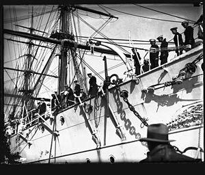 Chilean naval crew on board GENERAL BAQUEDANO, July 1931.jpg