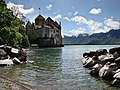 Chillon Castle view from Lake Geneva shore 2.jpg