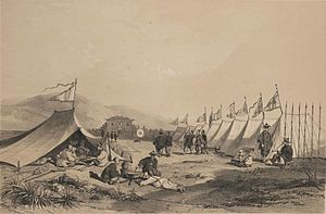 Portas do Cerco - Chinese encampment outside the first Barrier Gate on Zhongshan Island, by Auguste Borget (published 1842)
