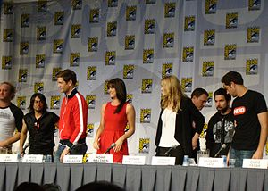 e7269564ef4 Chuck cast members at the San Diego Comic-Con 2010