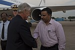 Chuck Hagel greeted by officials at IGI Airport 6.jpg