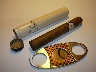 Cigar - A cigar with a semi-airtight storage tube and a double guillotine-style cutter