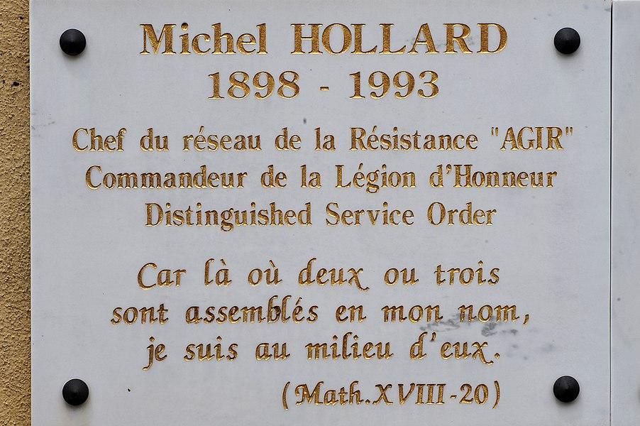 Cemetery of Gorniès; Hérault, France. Inscription on the Grave of Michel Hollard.