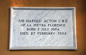 Harold Acton - Grave marker, Cimitero Evangelico degli Allori, Florence, Italy
