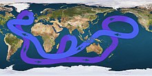 Map displaying a looping line with arrows indicating that water flows eastward in the far Southern Ocean, angling northeast of Australia, turning sough-after passing Alaska, then crossing the mid-Pacific to flow north of Australia, continuing west below Africa, then turning northwest until reaching eastern Canada, then angling east to southern Europe, then finally turning south just below Greenland and flowing down the Americas' eastern coast, and resuming its flow eastward to complete the circle