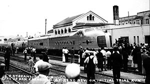 City of San Francisco (train) - The M-10004 trainset at Reno, Nevada on a trial run