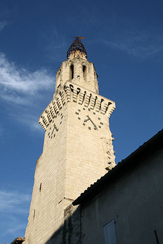 The leaning bell tower of the Church of the Augustinians. Clocher de l'eglise des Augustins (Place des Carmes) Avignon, by JM Rosier.JPG