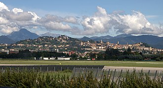 Bergamo - Bergamo Upper Town and Alpi Orobie from the airport