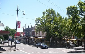 Kensington, Victoria - The corner of Bellair Street and Macaulay Road, the commercial heart of Kensington opposite the main railway station
