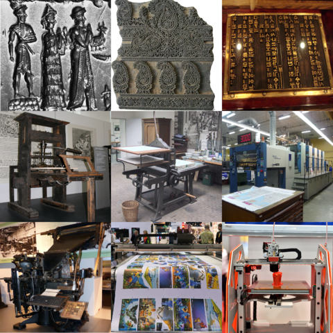 From top to bottom, left to right: cylinder seal of a scene, block used for woodblock printing, Korean movable type, printing press, lithograph press, offset press used for modern lithographic printing, linotype machine for hot metal typesetting, digital printer, 3D printer in action.