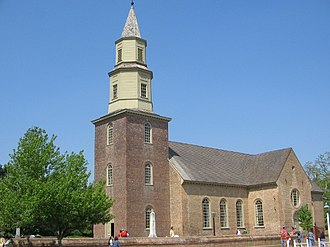 Episcopal Church (United States) - Bruton Parish Church in Colonial Williamsburg, established in 1674. The current building was completed in 1715.