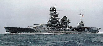Japanese battleship Hyūga - Hyūga on her sea trials in November 1943 after her conversion
