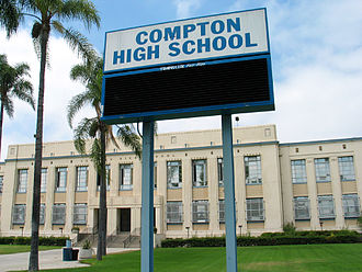 Compton High School - The billboard of Compton High School in 2005