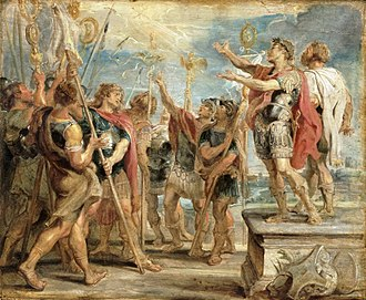 Constantine's conversion, as imagined by Rubens. (Wikipedia)