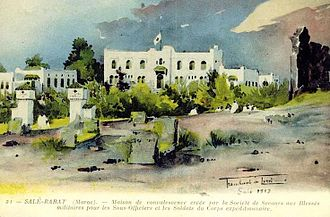Inès de Bourgoing - Architect Maurice Tranchant de Lunel's (1869–1944) rendering of the Convalescent Center of the Société de Secours aux Blessés Militaires in Salé, Morocco, 1913