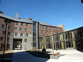 Cornell West Campus - One dormitory wing of Hans Bethe House (left) connected to a communal area (right). The house dining hall is situated on the first floor of the structure on the right, while lounges, meeting rooms, and study space fills the second floor of that structure.