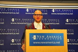 New America (organization) - New America hosts talks and public events on their program topics. Pictured is author Cory Doctorow speaking about copyright in June 2010.
