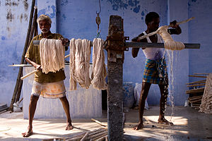 Dyeing - Cotton being dyed manually in contemporary India.