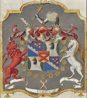 Jacob Bruce - Arms of Count James Bruce, from his diploma of nobility. Note the red lion and unicorn, both symbols of Scotland