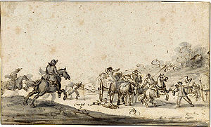 Robbery - Marauders attacking a group of travellers, by Jacques Courtois