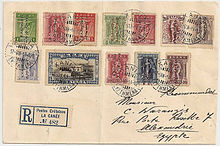 multi franked registered mail from crete using greek stamps during the union with greece to egypt in 1914 showing numbered registration label