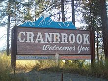 A sign in the shape of a mountain range welcomes visitors to Cranbrook, British Columbia