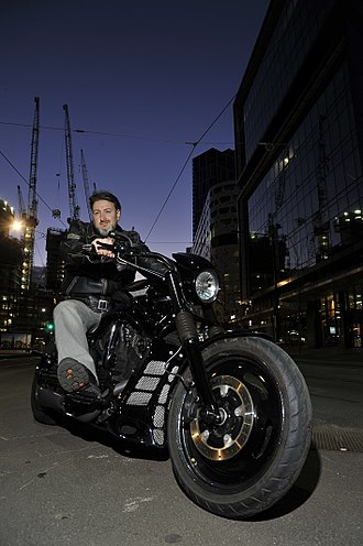 Custom motorcycle - Maurice Novoa's Customised Harley Davidson Night Rod Special photographed by Gilbert Rossi at Melbourne Docklands.