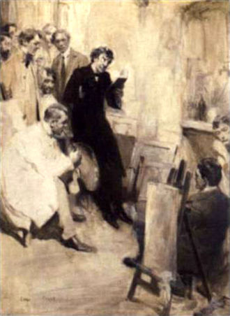 Cyrus Cuneo - James Abbot McNeill Whistler in his studio by Cyrus Cuneo. Pencil and monochrome wash drawing, 1906. Whistler is reading from The Gentle Art of Making Enemies in Académie Carmen, surrounded by art students. Illustration for Whistler's Academy of Painting : Some Parisian Recollections by Cuneo in Pall Mall Magazine