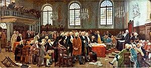 Michel-Eustache-Gaspard-Alain Chartier de Lotbinière - Charles Huot's depiction of Lotbinière giving his famous speech in Le débat sur les langues, 1793