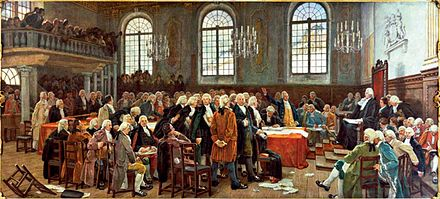 Debat sur les langues lors de la premiere Assemblee legislative du Bas-Canada le 21 janvier 1793 (Debate on languages during the first Legislative Assembly of Lower Canada, January 21, 1793), by Charles Huot Debat sur les langues lors de la premiere Assemblee legislative du Bas-Canada le 21 janvier 1793.jpg