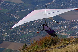 Hang gliding - Hang glider just after launch from Salève, France.