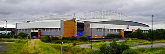 DW Stadium - A view of the DW Stadium, from the bridge crossing the Leeds and Liverpool Canal