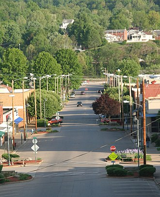 South Charleston, West Virginia - Evening on D Street, from the Mound