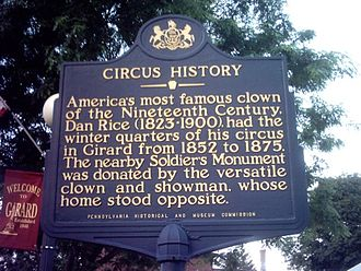 Dan Rice - Dan Rice informational sign in Girard Borough, PA