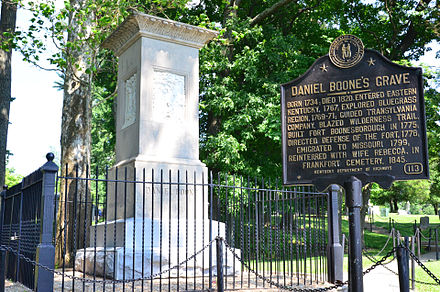 Purported resting place of Rebecca and Daniel Boone, Frankfort, Kentucky Daniel Boone's Grave Site.jpg