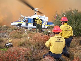 Bell 212 - Santa Barbara County Handcrew and a Bell 212 on the Day Fire