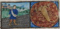 De Grey Hours f.10.r October- sowing; Scorpio.png