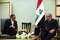 Defense.gov News Photo 110711-F-RG147-878 - Secretary of Defense Leon E. Panetta meets with President of Iraq Jalal Talabani in Baghdad, Iraq, on July 11, 2011.jpg