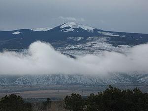 Del Norte, Colorado - Del Norte Peak rises above the town to the west.