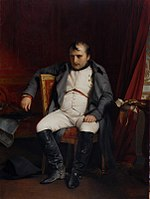 Painting shows Napoleon after he abdicated at Fontainebleau, 4 April 1814, by Paul Delaroche