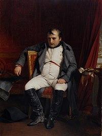 Napoleón abdicando en Fontainebleau