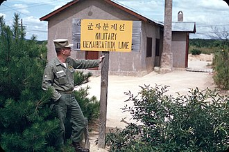 Military Demarcation Line - MDL sign in Joint Security Area, 1956.