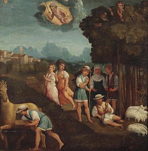 Gyges of Lydia - A rare depiction of the legend of Gyges finding the magic ring, Ferrara, 16th century