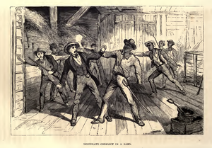 """Hayloft - """"Desperate Conflict in a Barn"""", 1853. Haylofts were used to hide escaped slaves on the Underground Railroad."""
