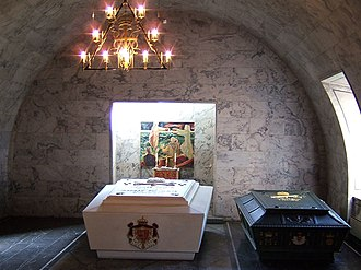 Akershus Fortress - The sarcophagi of King Haakon VII, Queen Maud (the white sarcophagus), King Olav V and Crown Princess Märtha (the green sarcophagus)