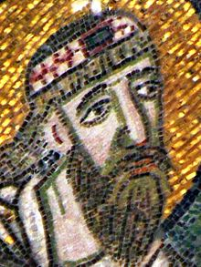 Detail of the Imperial Gate mosaic in Hagia Sophia showing Leo VI the Wise (cropped).jpg