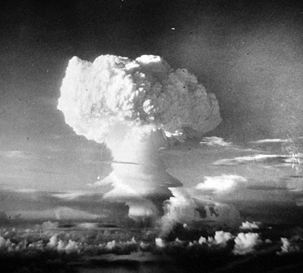 "The theoretical ""nuclear blowback"" of detonating 100 or more nuclear weapons would drastically alter the Earth's climate for a prolonged period of time, causing an environmental disaster that would affect nearly every type of living organism on the planet. Detonation of a Thermo-Nuclear Device in the South Pacific.jpg"